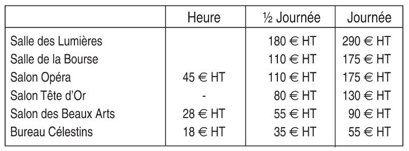 tarifs du centre d'affaires des Négociants